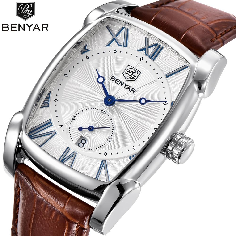 1696ff978c187 Top luxe marque BENYAR bracelet en cuir hommes montres sport carré hommes  montre à Quartz horloge