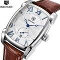 Топ люксовый бренд BENYAR кожаный ремешок мужские часы спортивные квадратные мужские кварцевые часы военные наручные часы Relogio masculino