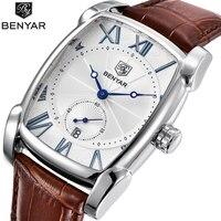 Top Luxury Brand BENYAR Leather Strap Men S Watches Sports Square Men Quartz Watch Clock Military