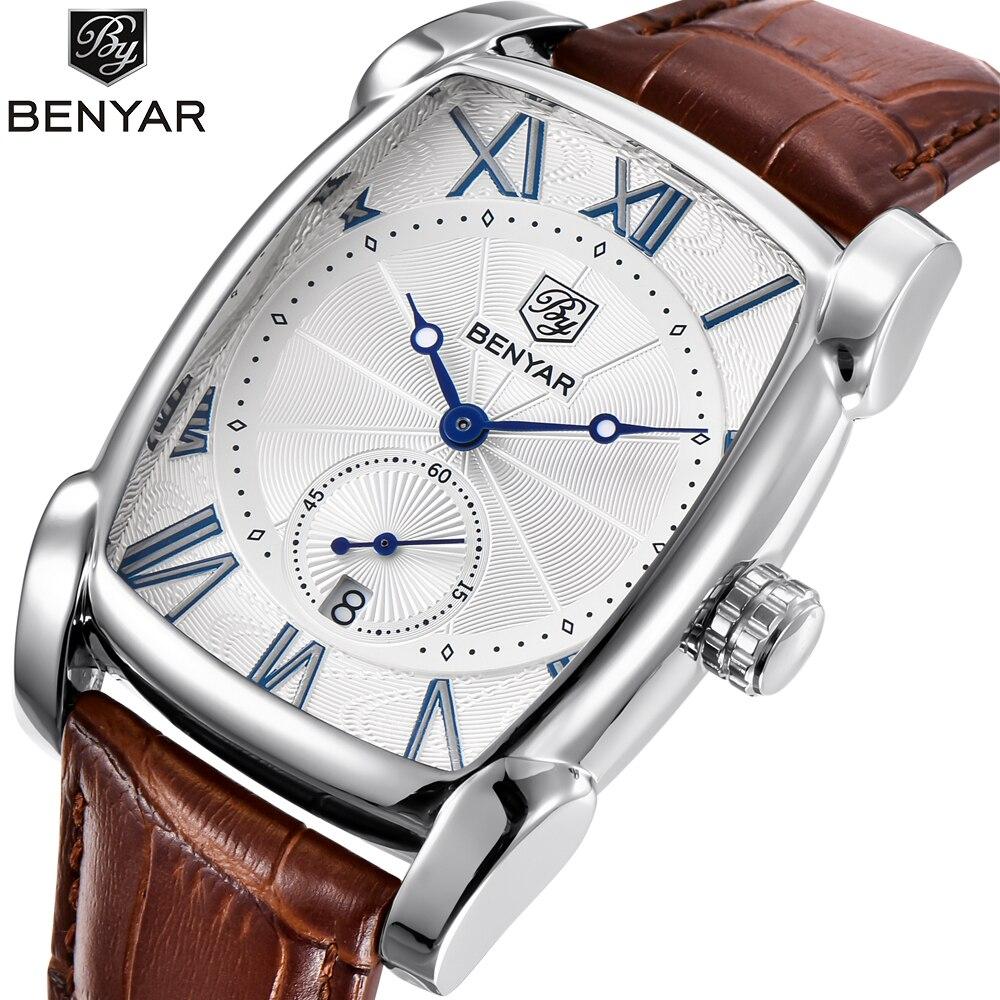 Leather Strap Men's Watches Sports Square Men Quartz Watch Clock Military Wrsit Watch