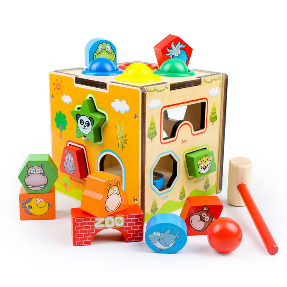 Childrens Intelligence Multifunctional Animal Box with Sound Shape Matching Knocking Toy Gift
