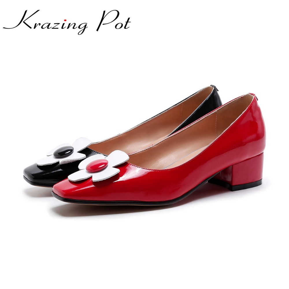 KRAZING POT 2018 genuine leather brand shoes med high heels flowers women pumps square toe slip on autumn winter party shoes L22 2017 shoes women med heels tassel slip on women pumps solid round toe high quality loafers preppy style lady casual shoes 17