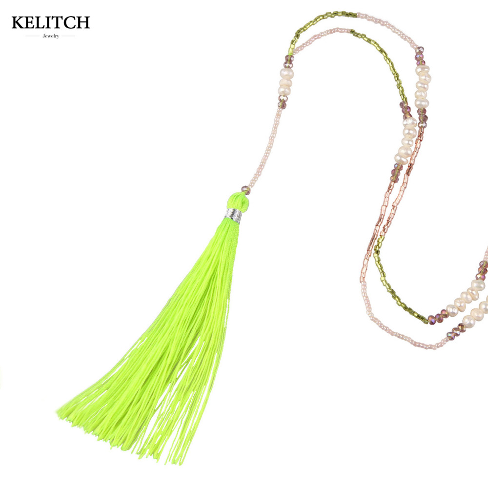 KELITCH Natural Freshwater Pearl Crystal Seed Beaded Chain Tassel Necklace FtKee