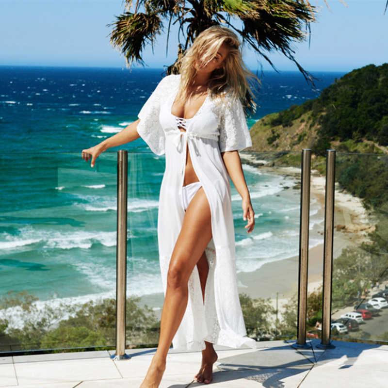2020 Costumi Da Bagno Delle Donne di Long Beach Cover Up Ricamo Floreale Bikini Cover Up Del Merletto Costume Da Bagno Pareo Beach Dress Tuniche Abbigliamento Da Spiaggia