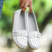 2016 Shoes Woman Genuine Leather Women Shoes Flats 8 Colors Buckle Loafers Slip On Women's Flat Shoes Moccasins Plus Size Q5