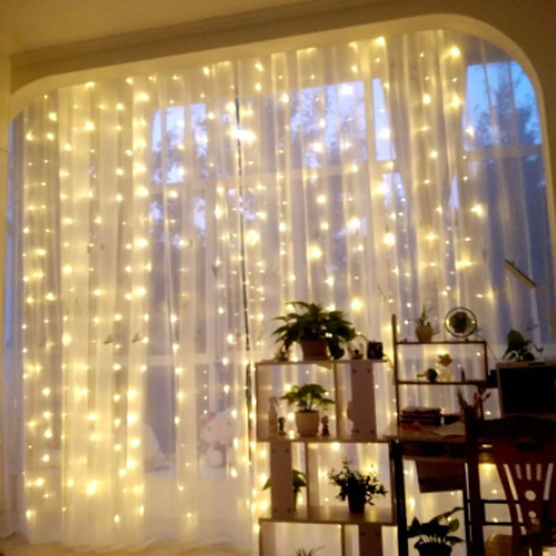 220V EU Plug 600 LED 6m*3m Fairy Curtain String Icicle Lights Wedding Party Room Decor Perfect Holiday With 8 Display Models