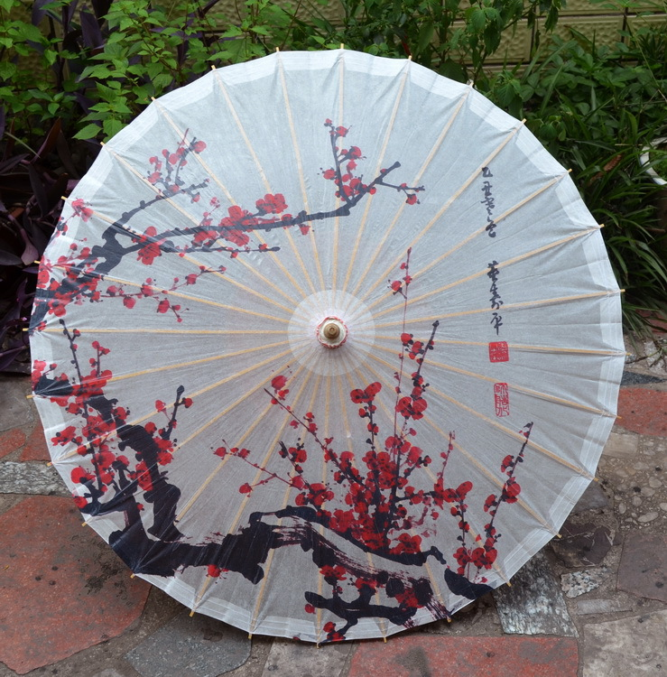 Dia 50cm free shipping Chinese handmade children dance,decoration,gift small size oiled paper <font><b>umbrella</b></font> with red plum blossom