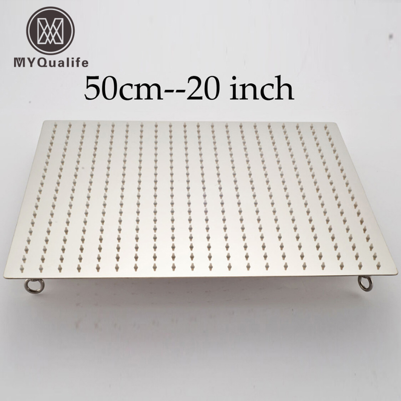 20 дюймов квадратная нержавеющая сталь дождевые насадки для душа на потолке ванная комната дождевая насадка для душа W 4 фиксированное кольц...
