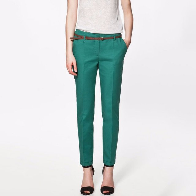 Novas Mulheres Outono de Algodão Calças Stretch Lápis Calças Femininas Com Cinto Senhoras Calças Skinny Slim