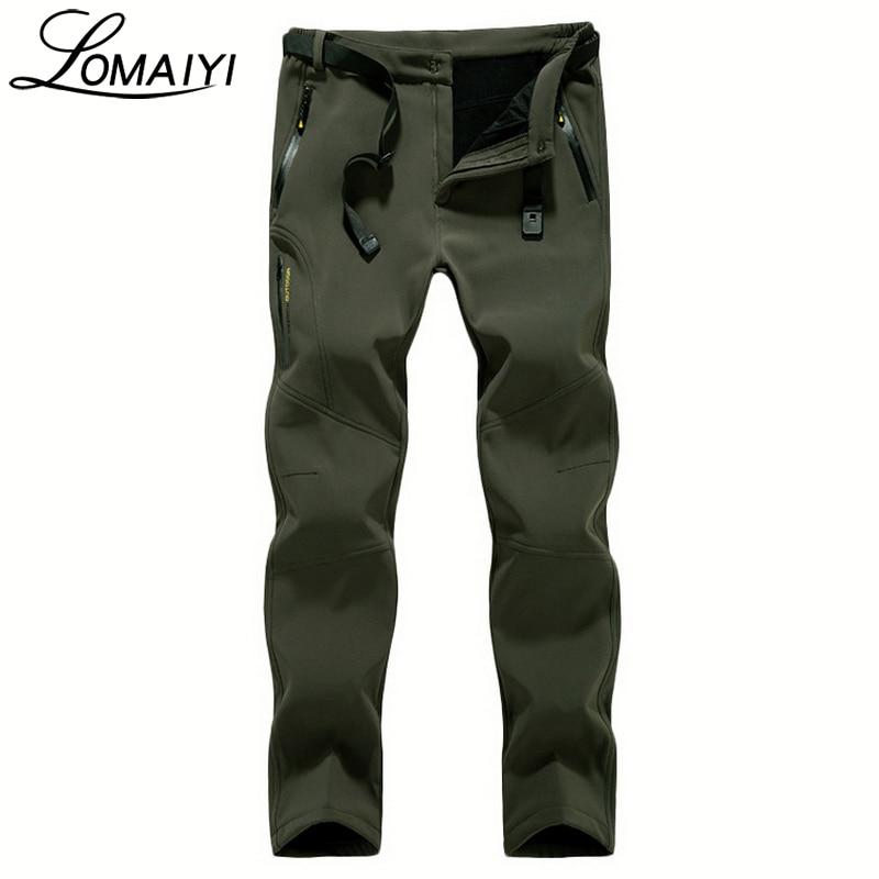 LOMAIYI Stretch Waterproof Casual Pants Men Winter Warm Black Sweatpants Male Fleece Shark Skin Trousers Mens Work Pants,AM203