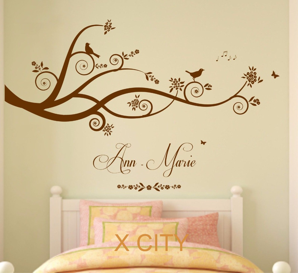 Tree Birds Butterflies Children Girl Personalised Name Vinyl Wall Decal Art  Decor Sticker Kids Bedroom Stencil ... Part 86