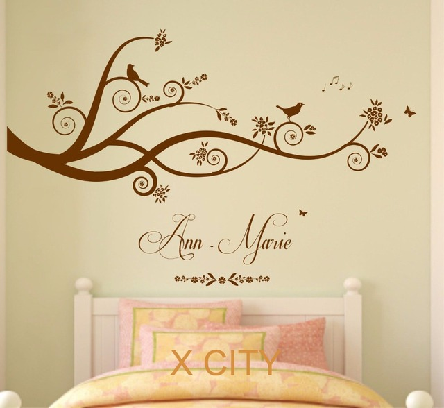Tree Birds Butterflies Children Girl Personalised Name Vinyl Wall Decal Art Decor  Sticker Kids Bedroom Stencil Part 79