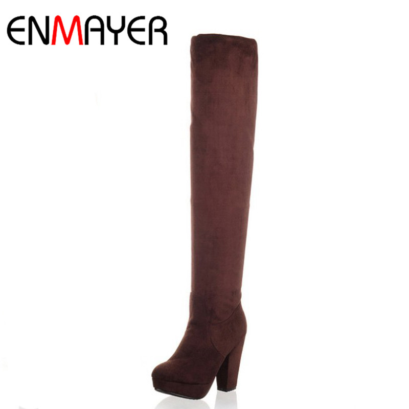 ENMAYER Over-the-knee Boots Plus Size 34-43 Spring&Autumn Shoes Woman Platform Black Brown Gray Women Long Boots Shoe High Heels enmayer over the knee boots shoes new pu knitting square heel high boots warm snow long boots red brown black knight boots