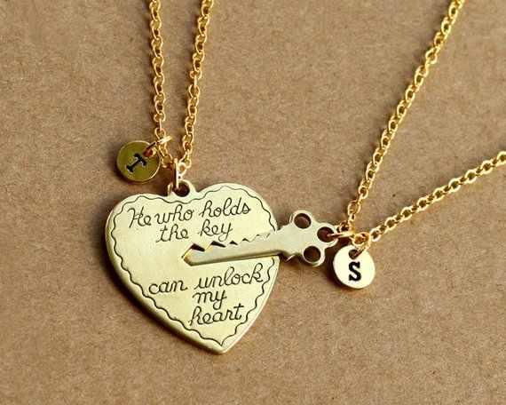 9c97f53301 ... custom initials his and her boyfriend girlfriend necklaces set,  friendship Best Friends broken heart set