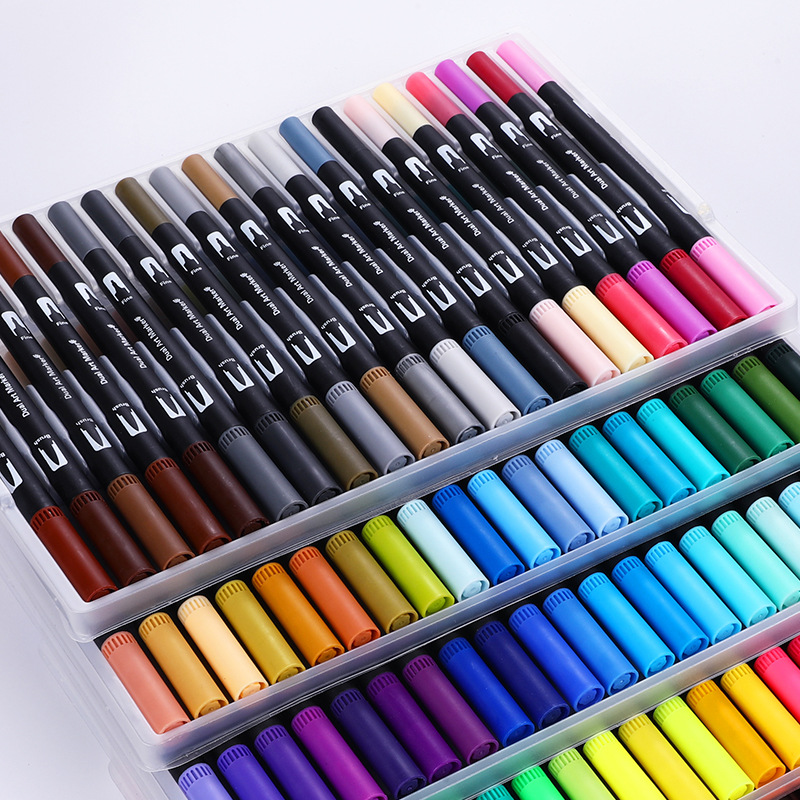 Cute Art Marker Pens 12/18/24/36/48/60/72/100 Set Colorful Ink Gen Manga Anime Watercolor Tip Brush Pen Graffiti Painting Pencil