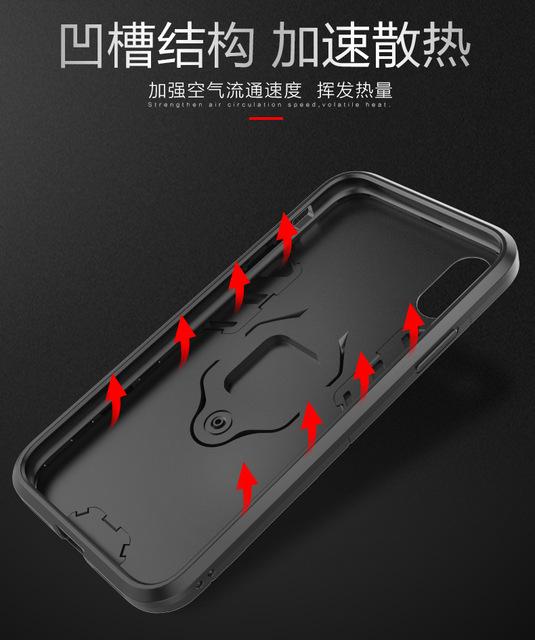 Z podstawką pierścień hybrydowy etui do Xiaomi Pocophone F1 Hard silikon + PC Armor chronią tylną pokrywę dla Xiaomi Pocophone F1 poco F1