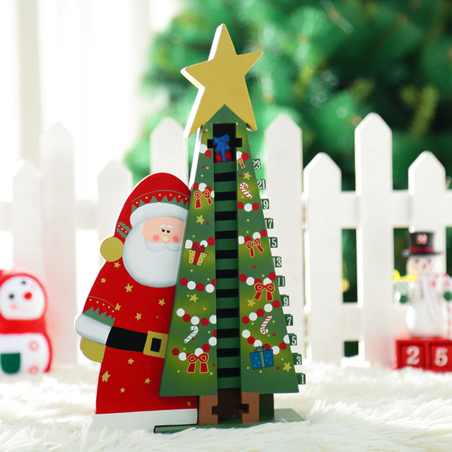warm tour snowman tree decoration xmas gift mini table decoration wood christmas advent calendar christmas countdown - Wooden Christmas Advent Calendar