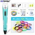 Myriwell Orijinal RP-100B 3D baskı kalem 1.75mm ABS Akıllı 3d çizim kalemler filament LED Ekran Çocuklar hediyeler