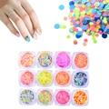 1 Caja de Uñas Fluorescente Lentejuelas Brillantes Coloridos Ronda Glitter Tips Manicura Nail Art Decoration YZ01-12