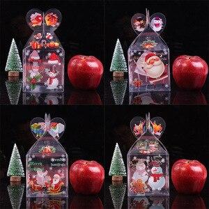 Image 5 - Caja de caramelos transparente de PVC, caja de regalo decorativa de Navidad, de Papá Noel, muñeco de nieve, alce, Reno, cajas de manzana de caramelo, 20 Uds.