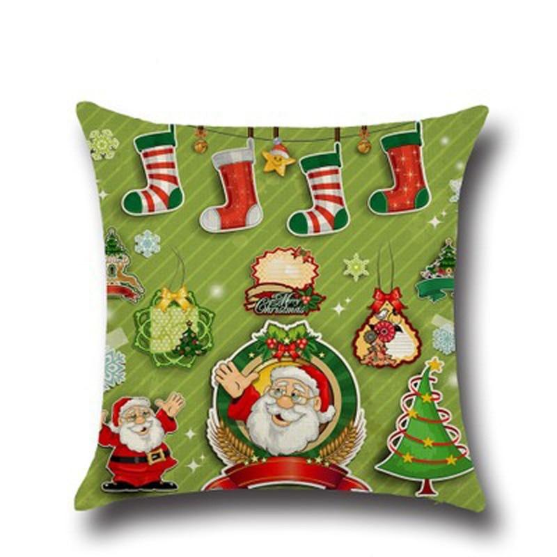 Urijk 45x45cm Linen Christmas Cushion Cover Santa Claus Merry Christmas Decorations For Home Sofa Pillowcase New Square Shape