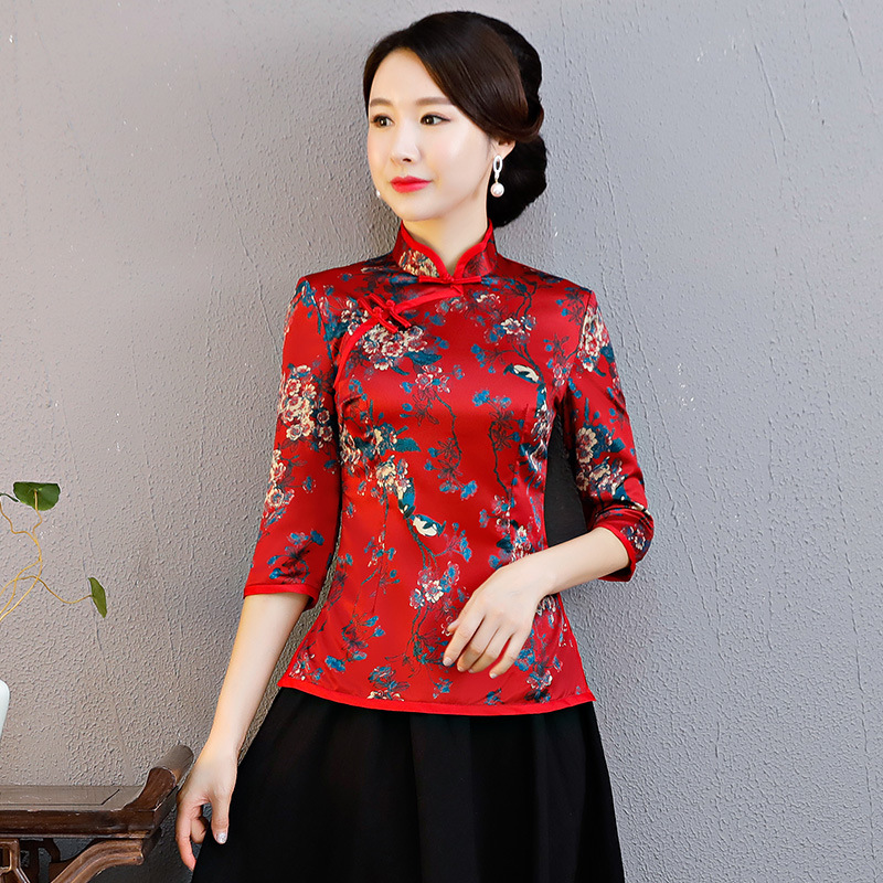 Automne nouvelles femmes à la main bouton vêtements Vintage amélioré femme Blouse Style chinois Tang chemise haute élégante fleur vêtements