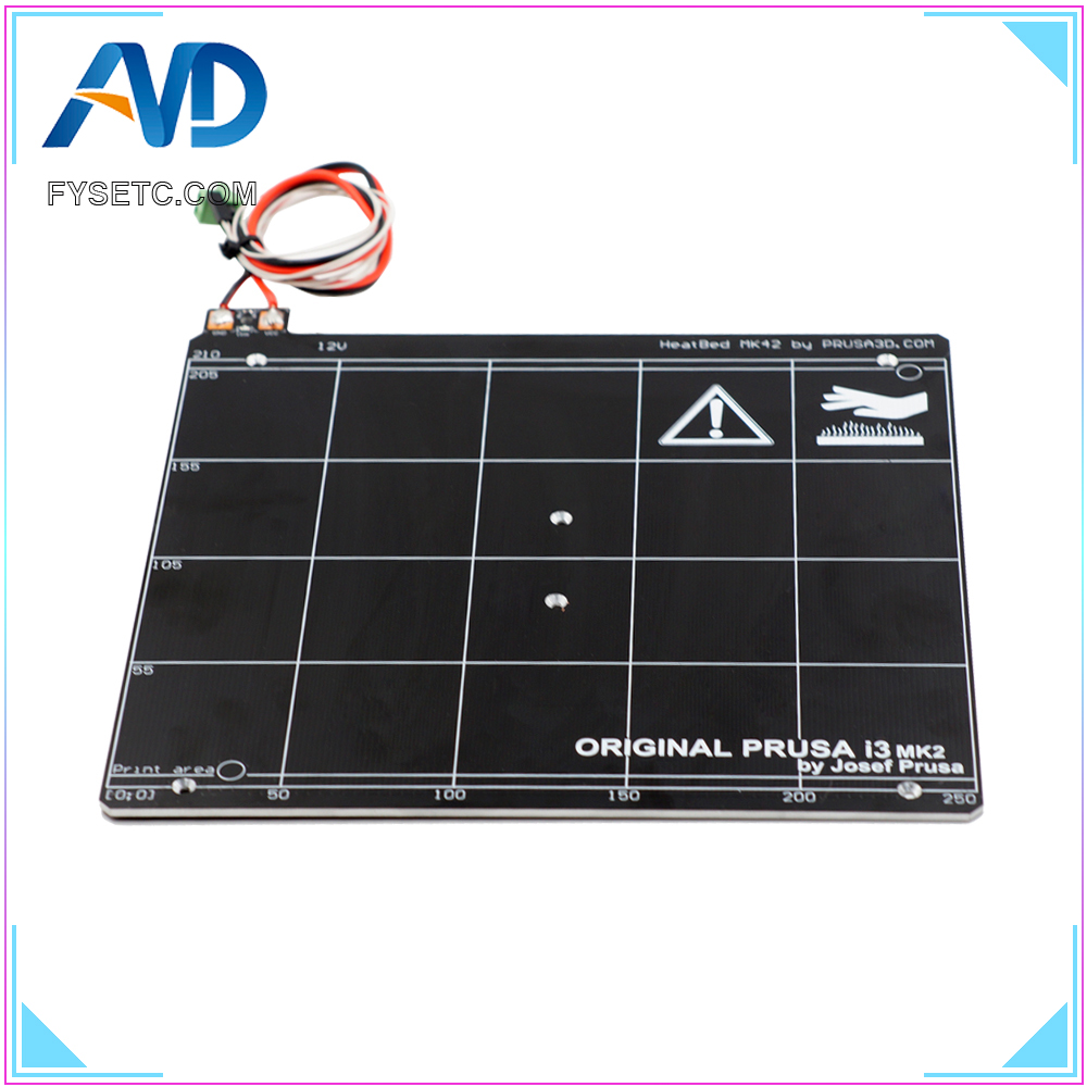 Reprap Prusa i3 MK2 MK2S 3D Printer Heated Bed Aluminum Alloy Clone 255 X 235 mm+ Resistor + Cable + 100K ohm Thermistors купить в Москве 2019