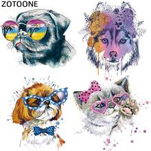 ZOTOONE watercolor Wolf Dog Cat Heat Transfer Patches for Clothing Applique DIY Cute Patch Set Animal iron on T-Shirt Printed G