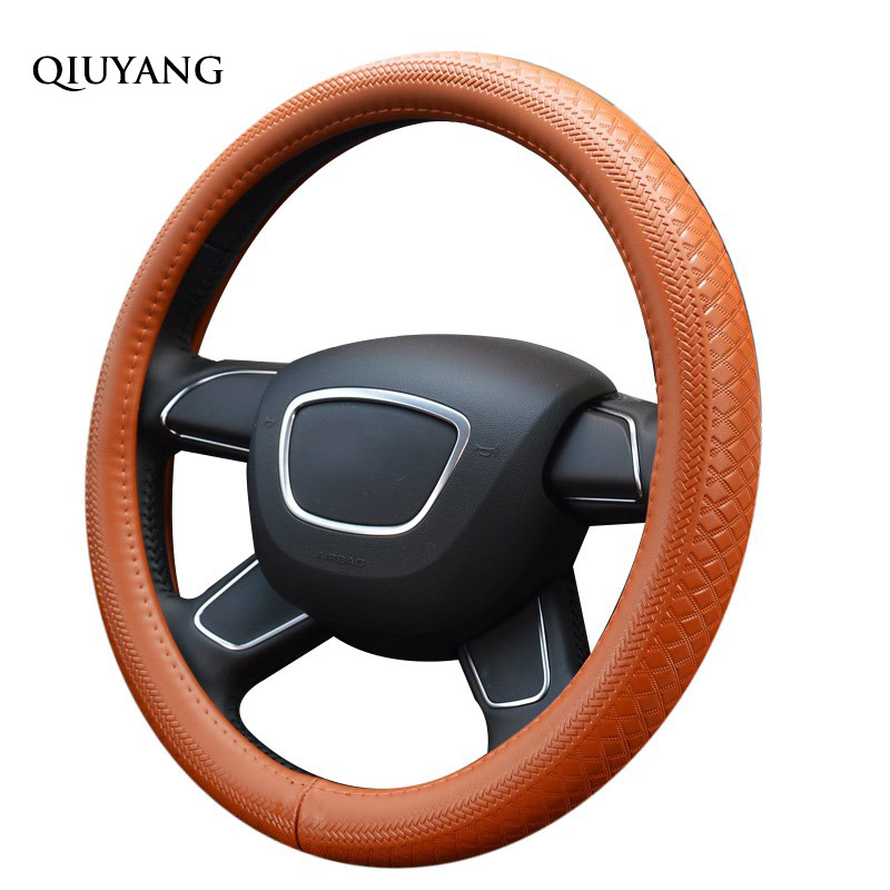 QIUYANG For REIZ Winter Leather Truck For Jeep Steering Wheel Cover For SAGITAR Handmade Leather Auto Wheel Cover 38cm / 15inch