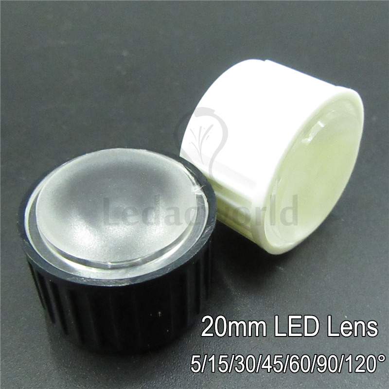 50set 20mm LED lens Frost Surface PMMA Optical Lenses + White/Black Bracket Angle 5 15 30 45 60 90 120 Degree For LED Bulbs DIY