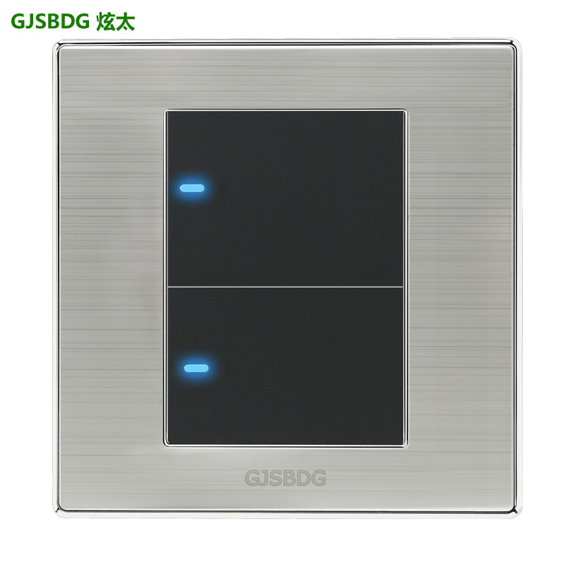 GJSBDG Luxury Wall Switch 2 Gang 2 Way Panel Light Switch Touch Switch LED Indicator 250V