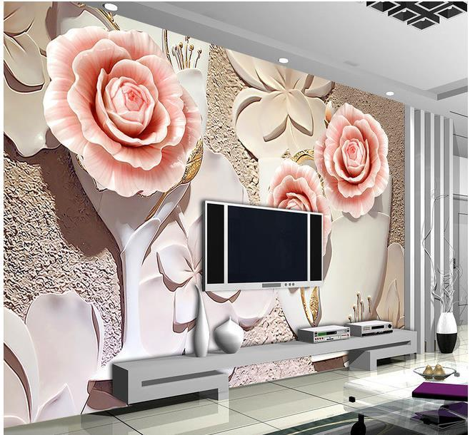 3d papel de parede custom photo hd 3d relief rose wall 3d for Decoration maison aliexpress