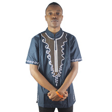 Africa Side Slit Men`s Many Embroidery Ethnic Tops Male Cotton Caftan Shirts Navy Blue цена