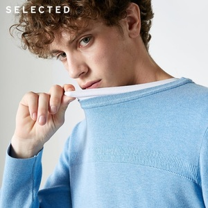 Image 2 - SELECTED New 100% Cotton Business Casual Pullover Knitted Mens Pure Color Sweater Clothes S