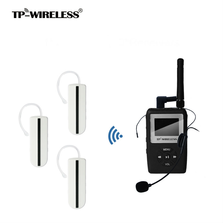 TP-WIRELESS UHF WTAG05 Tour Guide System Mini Earhook Receiver Wireless transmitter system 1 Transmitter N Receiver & Microphone tp wireless portable pull rod 2 4ghz tour guide system charging case for 1transmitter 29receivers tour guide items