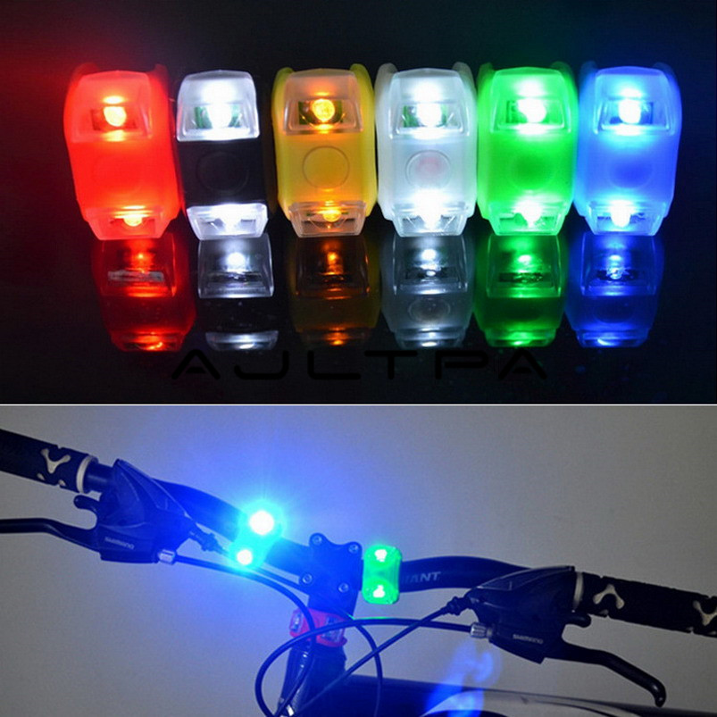 Silicone Bike Bicycle Lights Waterproof Cycling Front Rear Rail Light Handlebar LED Flash Safety Warning Lamps Include Battery