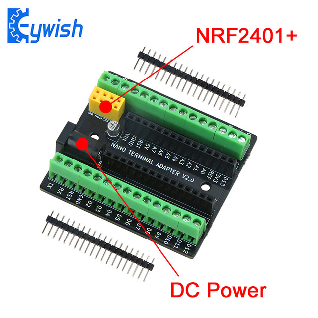 Keywish Nano Terminal Expansion Adapter Board for Arduino Nano V3.0 AVR ATMEGA328P with NRF2401+ Expansion Interface DC Power