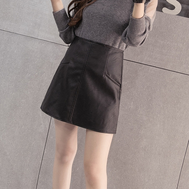 2016 Nova moda Mulheres faux pu Couro saia de cintura alta short A-Line vestido de festa vestuário feminino mulher saias saias femininas LQ46
