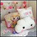 2017 Nova 40X26 CM Lindo Rosto Sorriso Branco Nuvem Travesseiro Desenho Animado Crianças Do Bebê Do algodão Almofada Decorativa Para Quarto de Cama Brinquedo de Pelúcia pelúcia