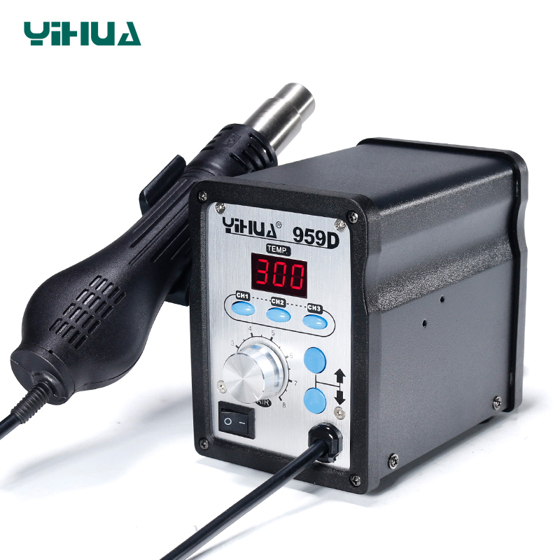 220V YIHUA 959D SMD Soldering Station With Soldering Iron Hot Air Gun Soldering Station 220v 50w yihua 937 soldering station with extra free hakko a1321 ceramic heater