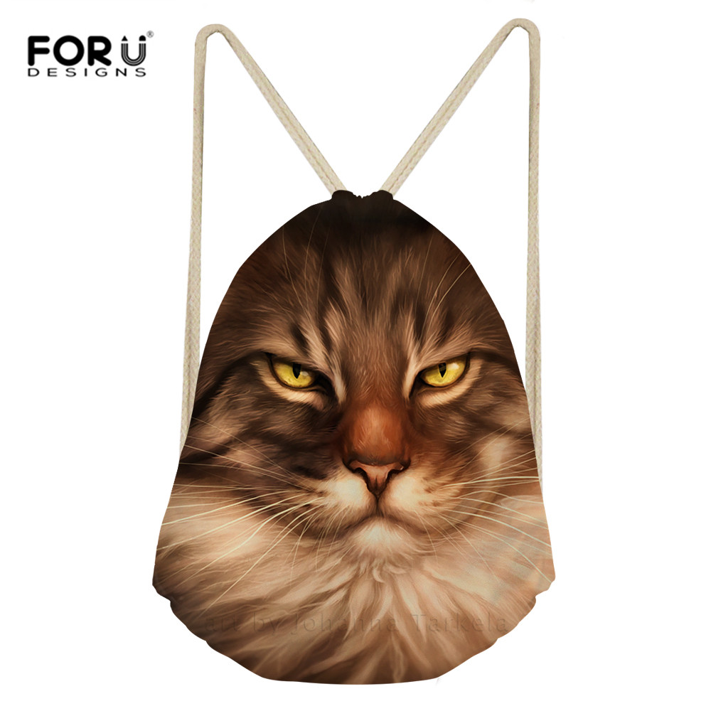 FORUDESIGNS Drawstring Backpack Fashion Cats Printed Rucksack Girls Boys School String Bag Travel Cloth Shoes Bags Dropshipping