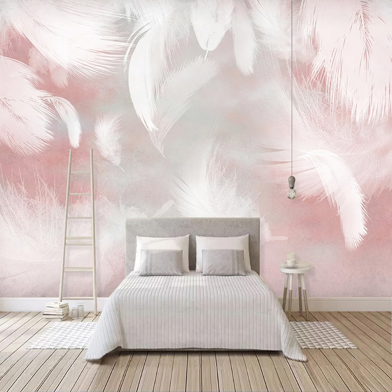 Photo Wallpaper Modern Fashion Pink Feather Murals Living Room Bedroom Romantic Home Decor Self-Adhesive Waterproof 3D Stickers
