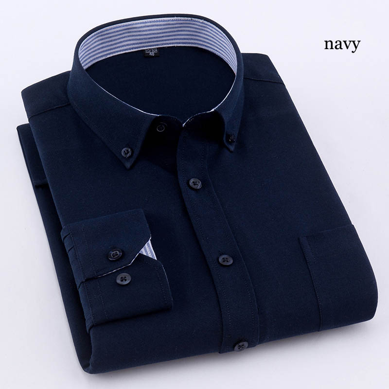 Zogaa Men's Long Sleeve Standard-fit Solid Basic Dress Shirt Cotton High-quality Formal Basic Business Non-iron Casual Shirts