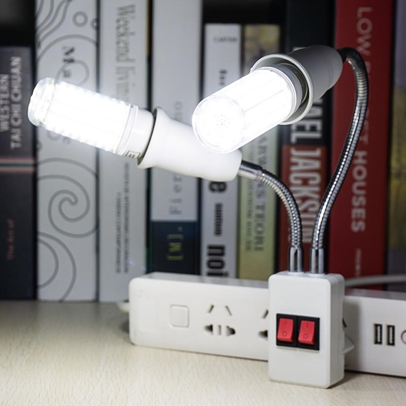 Double Head Flexible Lamp Base With LED Corn Bulb AC85-265V AC220V Switch EU US Plug Lamp Holder E27 30 36 56 72 89LEDs  Bulbs