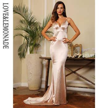 Love&Lemonade  Nude Deep V-Neck Open Back Slim Flash Material Long Dress  LM1098 - DISCOUNT ITEM  15% OFF All Category