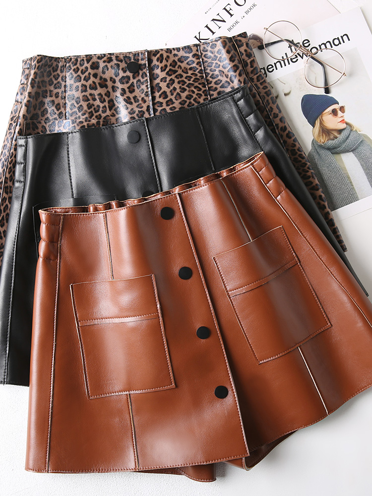 Saia Top en cuir véritable solide jupes femmes en cuir jupe courte en peau de mouton 2018 nouveau automne et hiver femmes taille haute