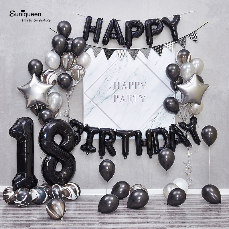 Black Foil HAPPY BIRTHDAY Letter Balloon Banner Metal Silver Theme Birthday Party Decoration Baby Shower