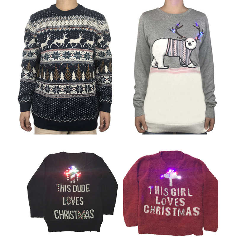 8ea4cf0562 Funny Knitted Light Up Family Matching Christmas Sweater Kawaii Knit Lights  Up Couples Matching Xmas Pullover