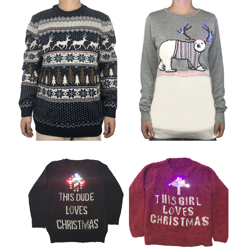 Light Up Christmas Sweater.Us 39 59 34 Off Funny Knitted Light Up Family Matching Christmas Sweater Kawaii Knit Lights Up Couples Matching Xmas Pullover Jumper Oversized In