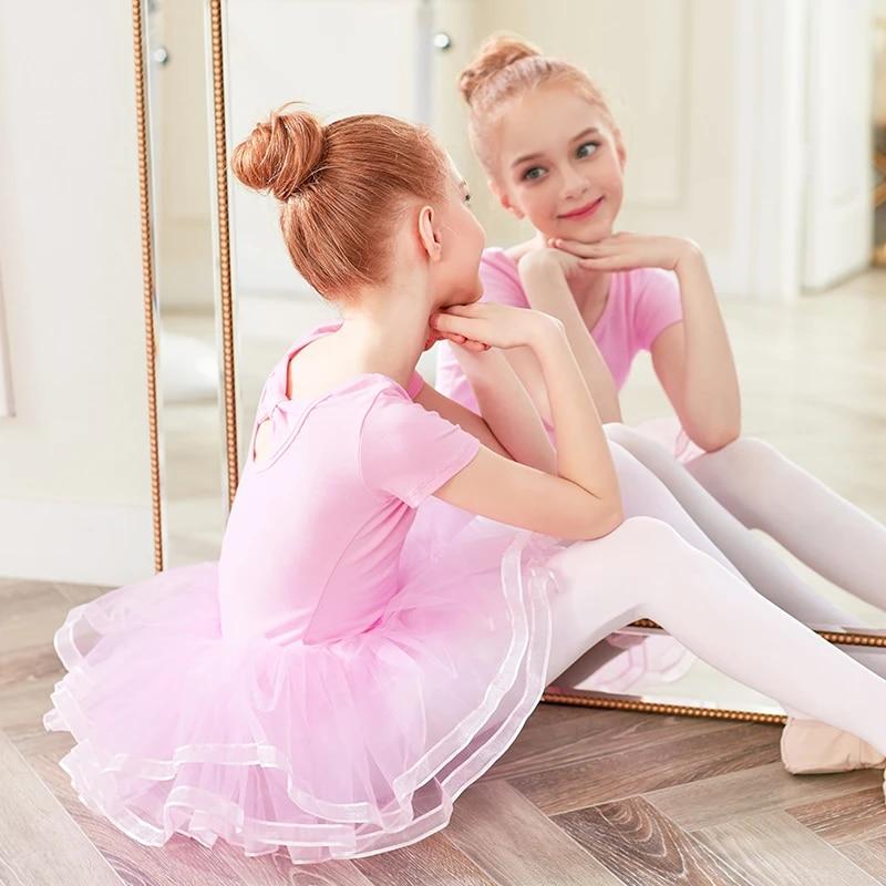 Kids Girls Gymnastics Dancewear Dress Ballet Leotards Tutu Skirts Dance Costumes